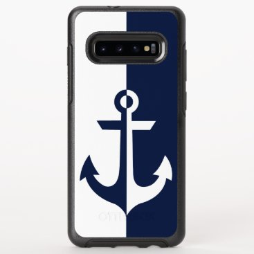 Nautical White and Blue Anchor {pick your color} OtterBox Symmetry Samsung Galaxy S10  Case