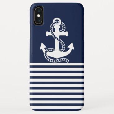 Nautical White Blue Anchor iPhone XS Max Case
