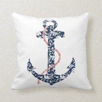 Navy and Coral Anchor Beach Wedding Pillow | Zazzle
