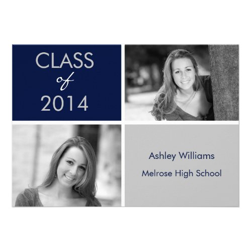 Navy and Silver Graduation Invitations