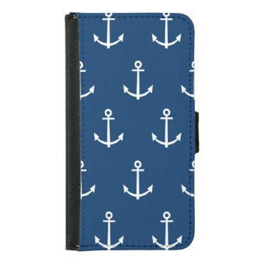 Navy Blue Anchors Pattern 1 Wallet Phone Case For Samsung Galaxy S5