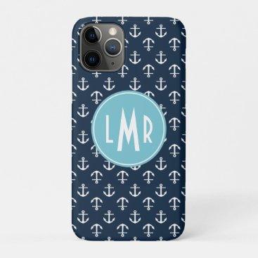 Navy Blue and Aqua Monogram Anchors Pattern iPhone 11 Pro Case