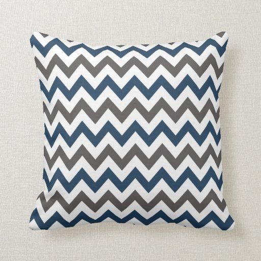 Navy Blue and Grey Chevron Throw Pillow  Zazzle