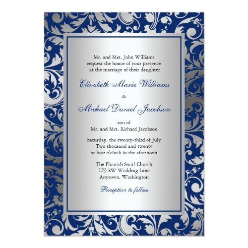 Navy Blue and Silver Damask Swirls Wedding Invitation