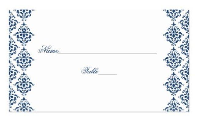 Navy Blue And White Damask Wedding Place Cards Zazzle