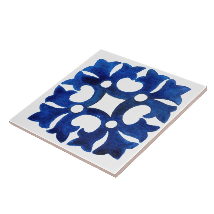 navy blue and white italian watercolor ceramic tile zazzle com