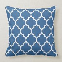 Navy Blue And White Quatrefoil Geometric Pattern Throw ...