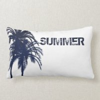 Navy Blue and White Tropical Palm Tree Lumbar Pillow | Zazzle