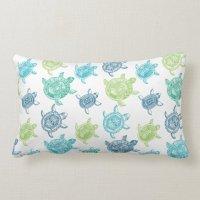 Navy Blue+Aqua+Lime Green+Teal Sea Turtles Lumbar Pillow ...