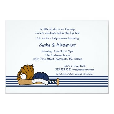 Navy Blue Baseball baby shower birthday party Card