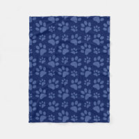 Navy blue dog paw print pattern fleece blanket