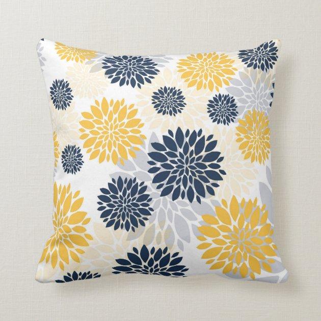 navy blue gold flower pattern throw pillow zazzle com