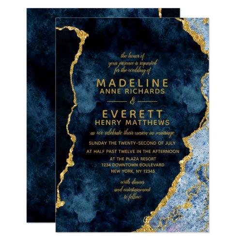 Navy Blue &amp&#x3B; Gold Foil Agate Wedding Invitations