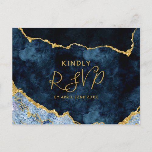 Navy Blue Gold Foil Agate Wedding Meal Choice RSVP Invitation Postcard