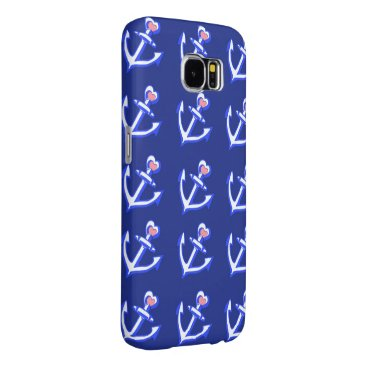Navy Blue Heart Anchors Samsung Galaxy S6 Case