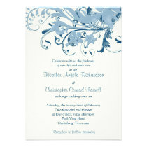 Navy Blue Ivory Vintage Floral Wedding Invitation