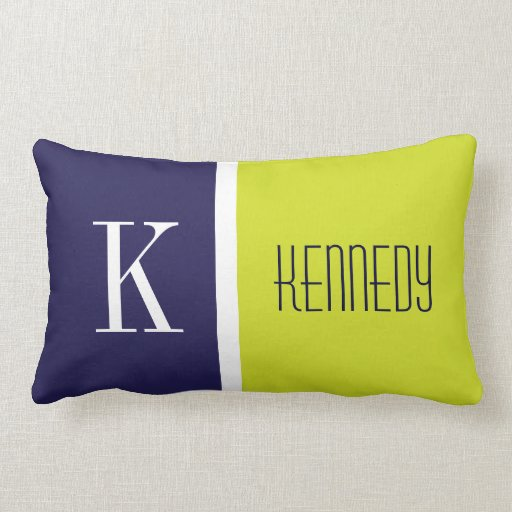 Navy Blue Lime Green Color Block Stripe Monogram Throw