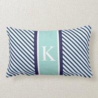 Navy Blue Mint Stripes & Monogram Lumbar Pillow | Zazzle
