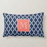 Navy Blue Moroccan Coral Monogram Lumbar Pillow | Zazzle