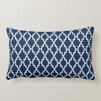 Navy Blue Moroccan Coral Monogram Throw Pillow | Zazzle