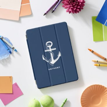 Navy Blue Nautical Anchor Personalized iPad Cover