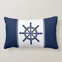 Navy Blue Ship's Wheel Lumbar Pillow | Zazzle