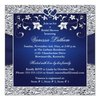Navy Blue, Silver Floral, Hearts Bridal Shower Invitation ...