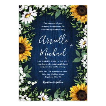 Navy Blue Sunflower Rustic Wedding Invitations