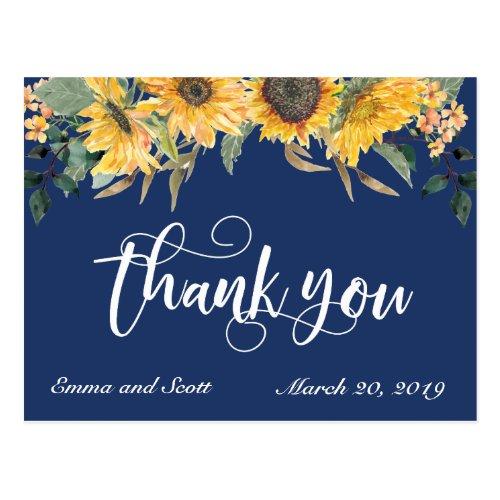 Navy Blue Sunflower Thank you Wedding Script Postcard