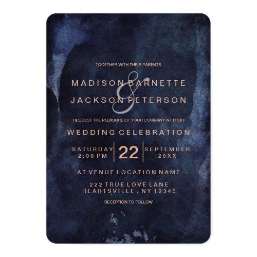 Navy Blue Watercolor Rose Gold Wedding Invitations