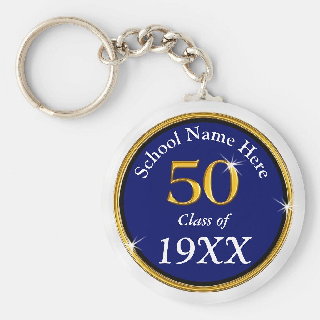 Navy Blue, White 50 Year ClassReunion Souvenirs Keychain