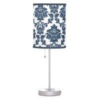 Navy Blue - White Damask Lamp Shade   Zazzle