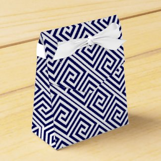 Navy blue, white Greek Key pattern wedding Favor Boxes