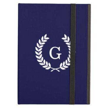 Navy Blue Wht Wheat Laurel Wreath Initial Monogram Cover For iPad Air