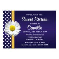 Navy Blue Yellow Daisy Sweet Sixteen Invitation