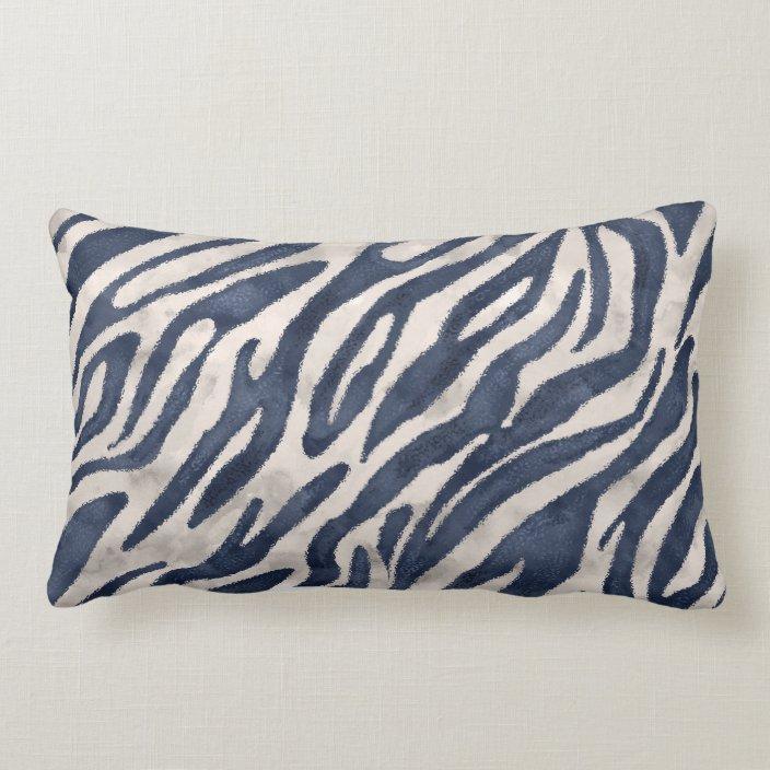 navy blue zebra lumbar pillow zazzle com