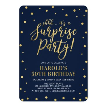 Navy & Gold | Adult 50th Surprise Birthday Party Invitation
