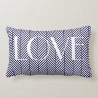 Navy Herringbone Lumbar Pillow | Zazzle.com