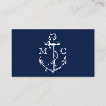 Navy Nautical Anchor Monogram Business Card