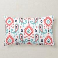Navy Turquoise and Coral Ikat Paisley Lumbar Pillow