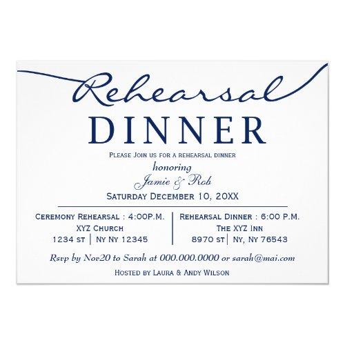 navy white Elegant Script Rehearsal Dinner Invitation