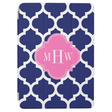 Navy Wht Moroccan #5 Hot Pink2 3 Initial Monogram iPad Air Cover