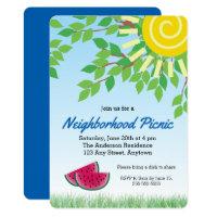 Neighborhood Picnic Invitati with Watermelon & Sun Card