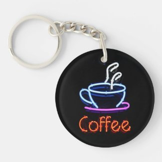 Neon Coffee Shop Sign Key Chain