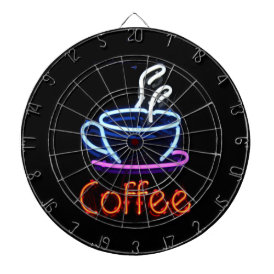 Neon Coffee Sign Dartboard With Darts