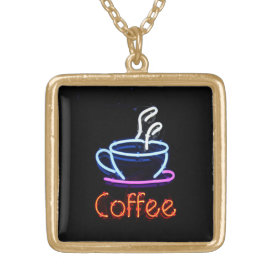 Neon Coffee Sign Gold Plated Necklace