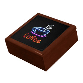Neon Coffee Sign Keepsake Box