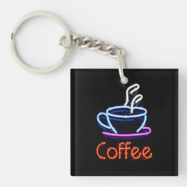 Neon Coffee Sign Keychain