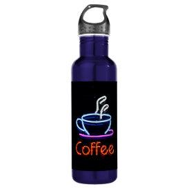 Neon Coffee Sign Water Bottle