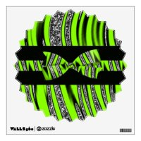 Neon Green & Black Zebra Glitter Stripes Wall Stickers ...